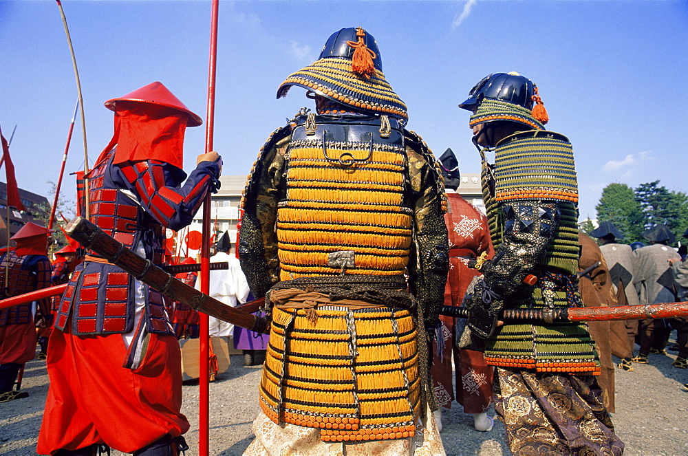 Men dressed in Samurai costume at Jidai Matsuri Festival held annually in November at Sensoji Temple, Asakusa, Tokyo, Japan, Asia - 834-5368