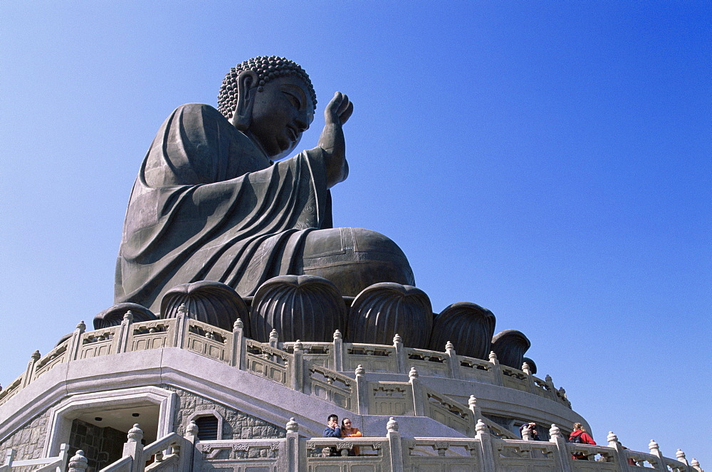 The world's largest outdoor seated bronze Buddha statue at the Po Lin Monastery, Lantau, Hong Kong, China, Asia