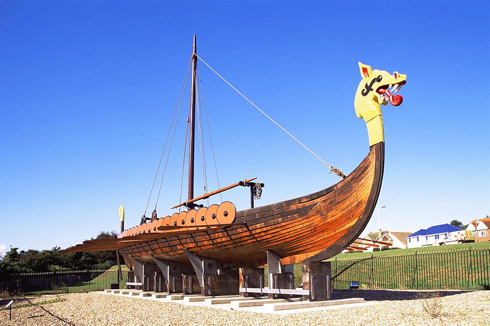 Viking ship Hugin at Pegwell Bay, Ramsgate, Kent, England, United Kingdom, Europe