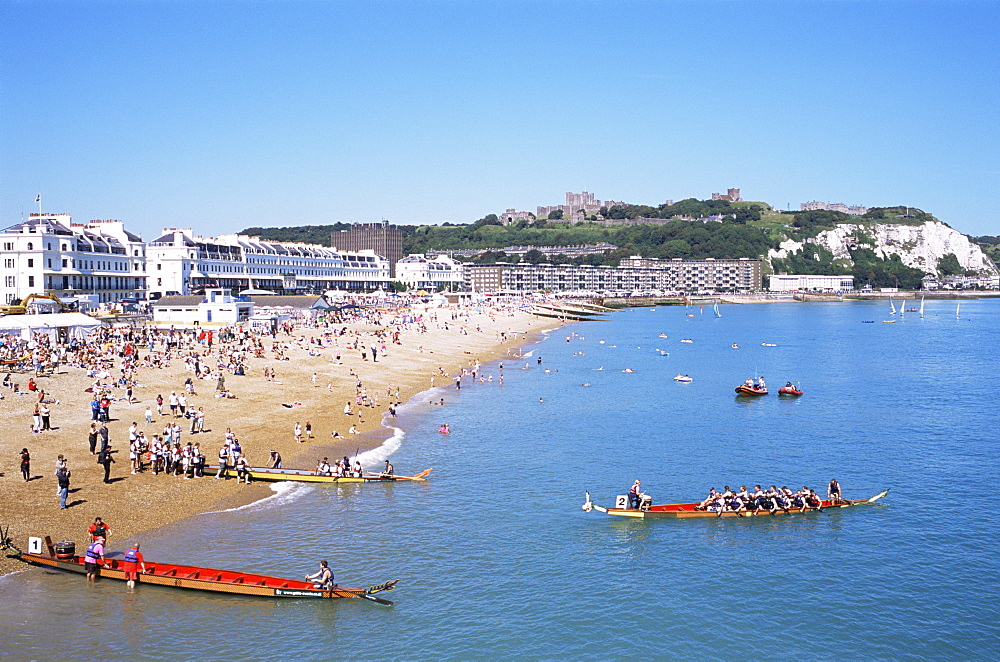 Beach and town skyline, Dover, Kent, England, United Kingdom, Europe