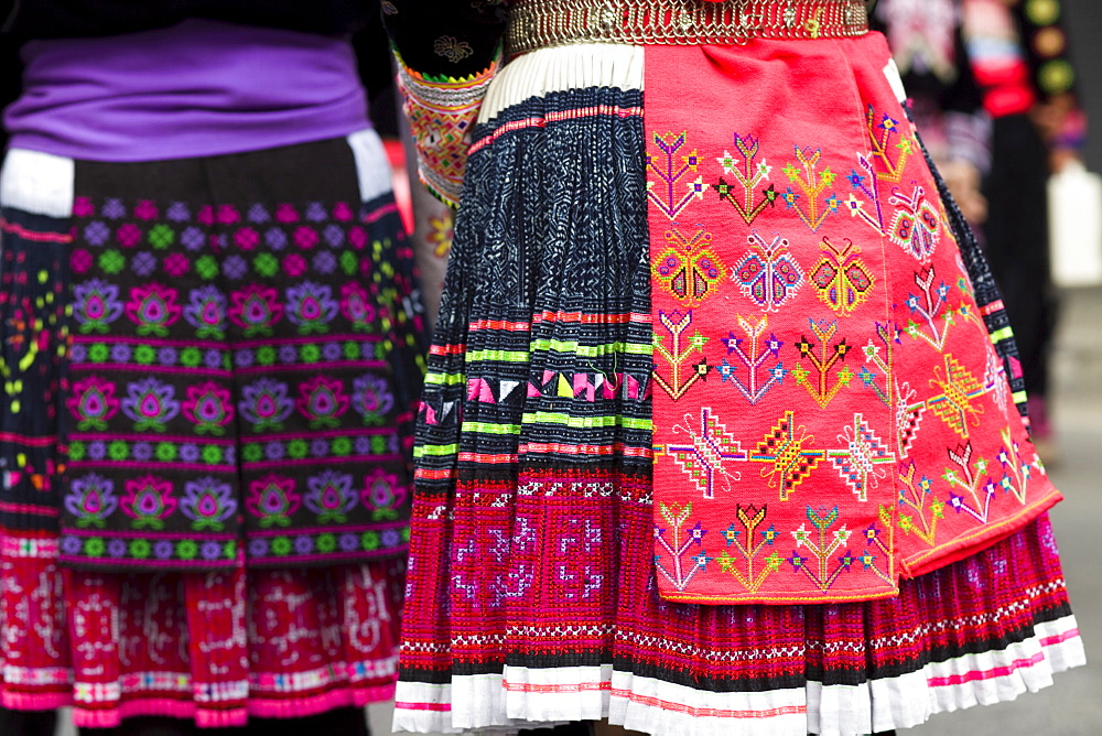 Close-up of traditional ethnic costume, Chiang Mai, Golden Triangle, Thailand, Southeast Asia, Asia
