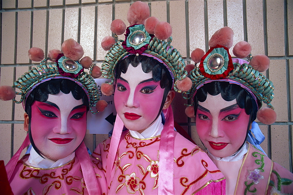 Group of girls dressed in Chinese Opera costume, Hong Kong, China, Asia