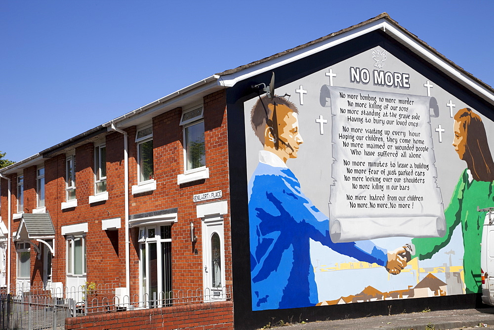 Peace mural in East Belfast, Belfast, Ulster, Northern Ireland, United Kingdom, Europe