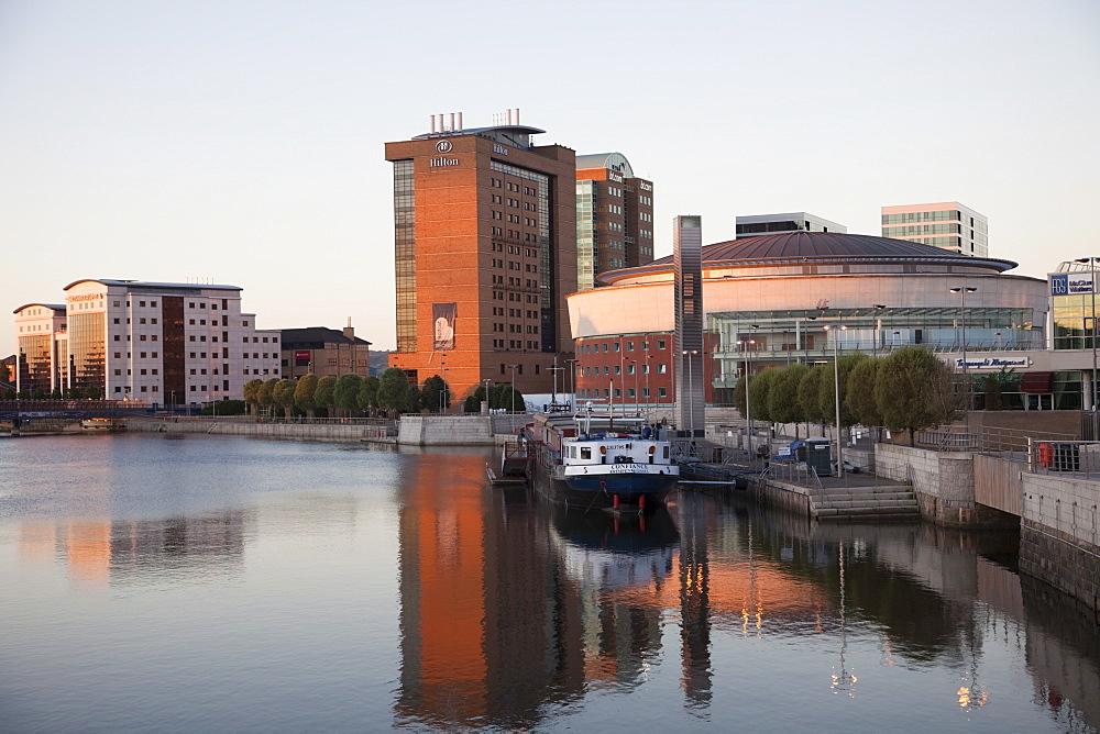 River Lagan skyline, Belfast, Ulster, Northern Ireland, United Kingdom, Europe
