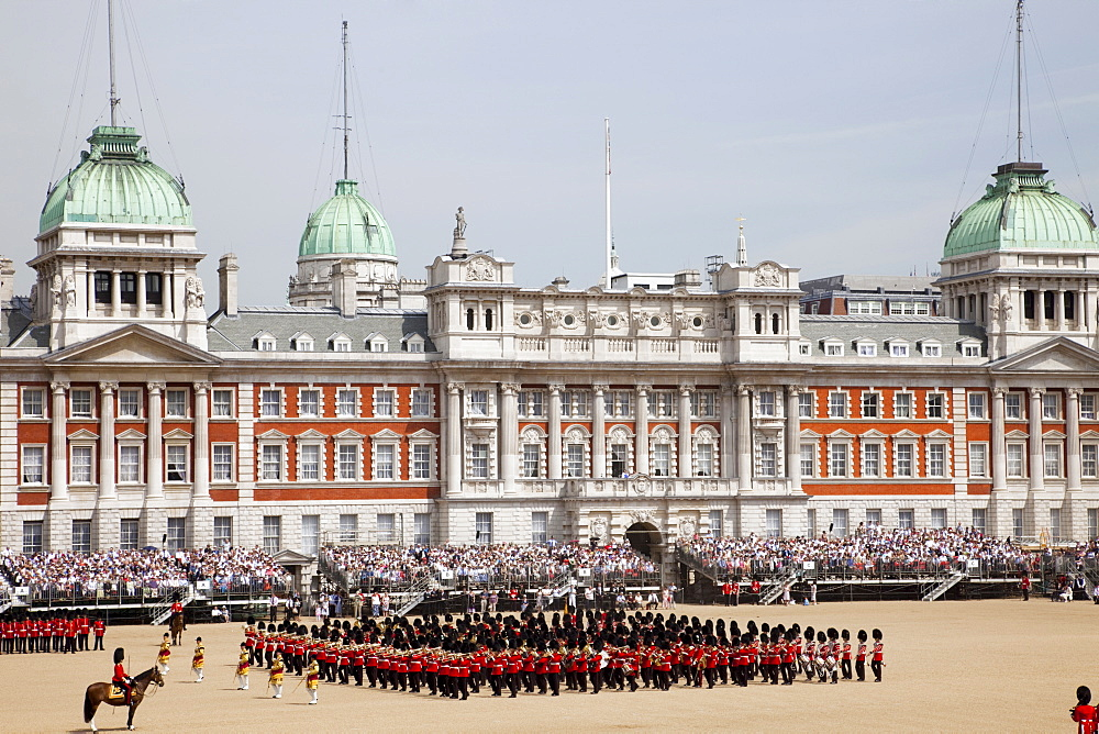 Trooping the Colour Ceremony in front of the Old Admiralty Building at Horse Guards Parade, Whitehall, London, England, United Kingdom, Europe