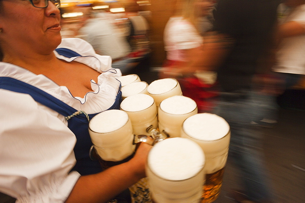 Waitress with beer steins, Oktoberfest, Munich, Bavaria, Germany, Europe - 834-6365