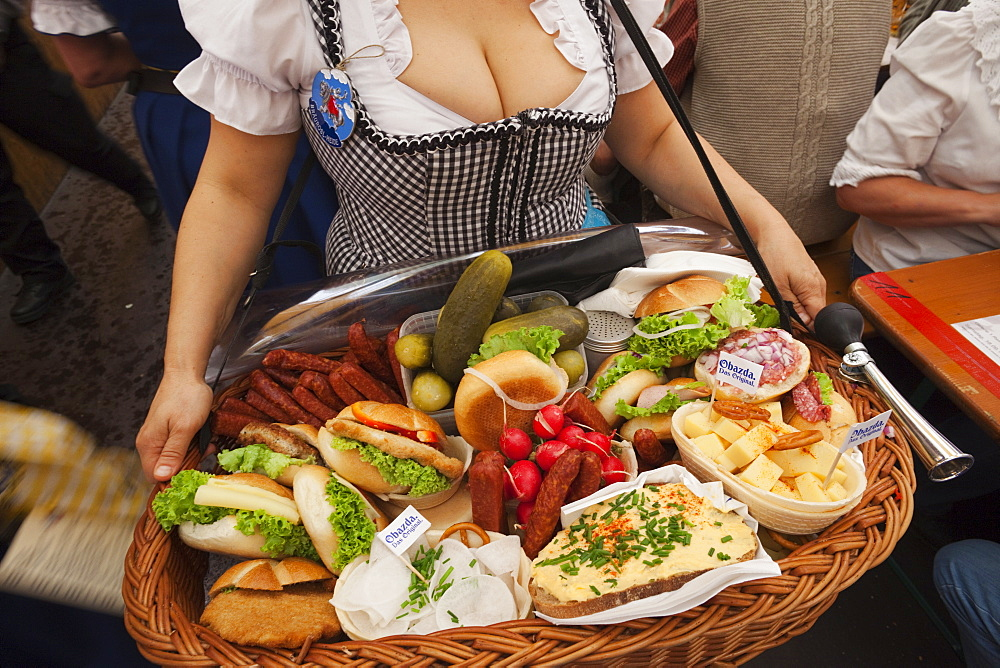 Typical food platter, Oktoberfest, Munich, Bavaria, Germany, Europe - 834-6367