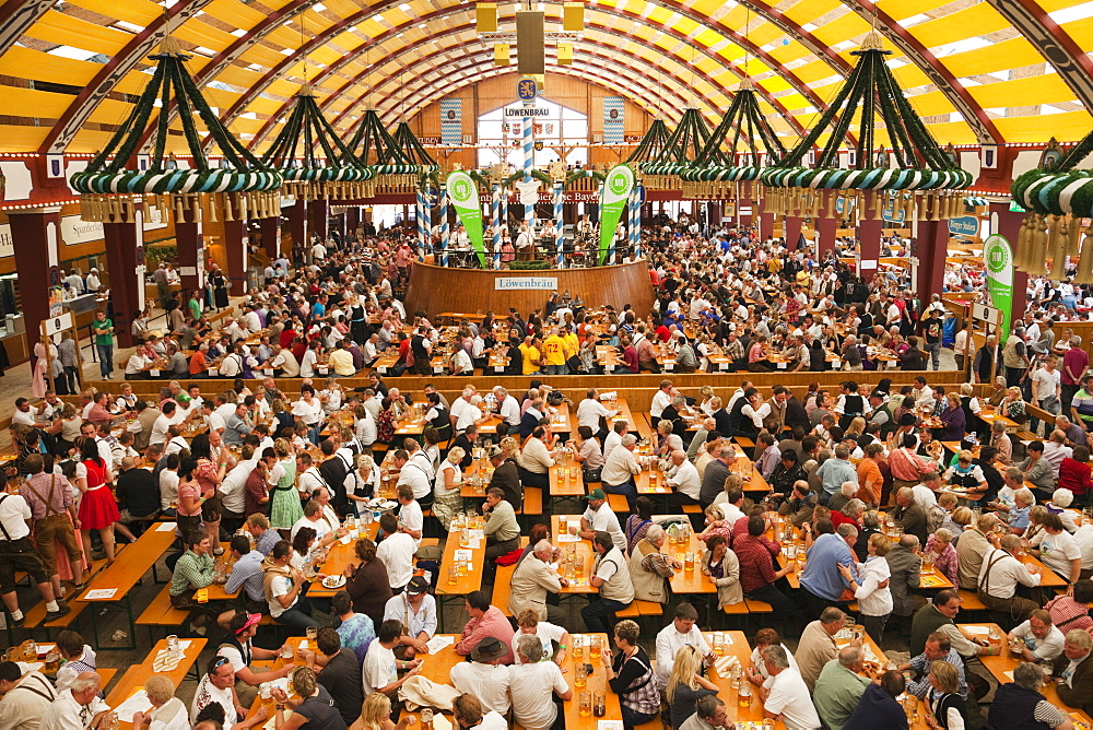 Typical beer tent scene, Oktoberfest, Munich, Bavaria, Germany, Europe - 834-6370