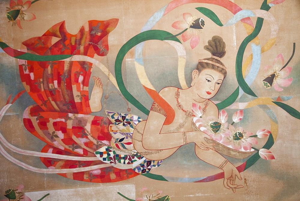 Ceiling artwork detail depicting Kannon the Goddess of Mercy, Asakusa Kannon Temple, Asakusa, Tokyo, Honshu, Japan, Asia