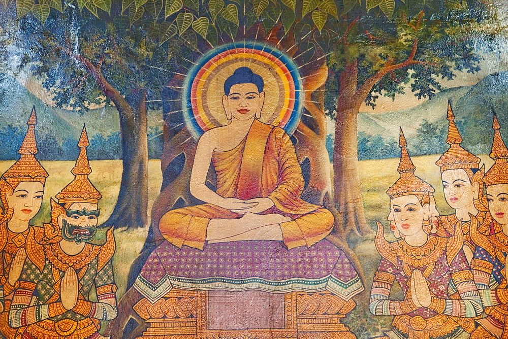 Mural depicting  Life of the Buddha, Wat Phnom, Phnom Penh, Cambodia, Indochina, Southeast Asia, Asia