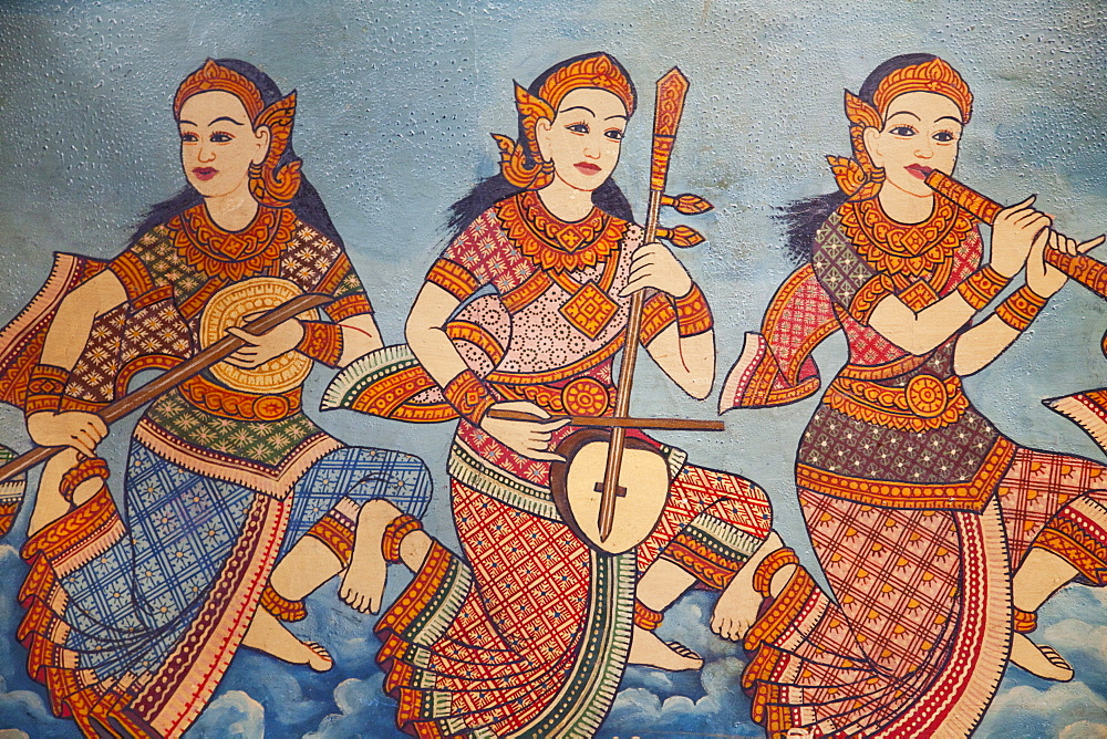 Detail of mural depicting  Life of the Buddha, Wat Phnom, Phnom Penh, Cambodia, Indochina, Southeast Asia, Asia