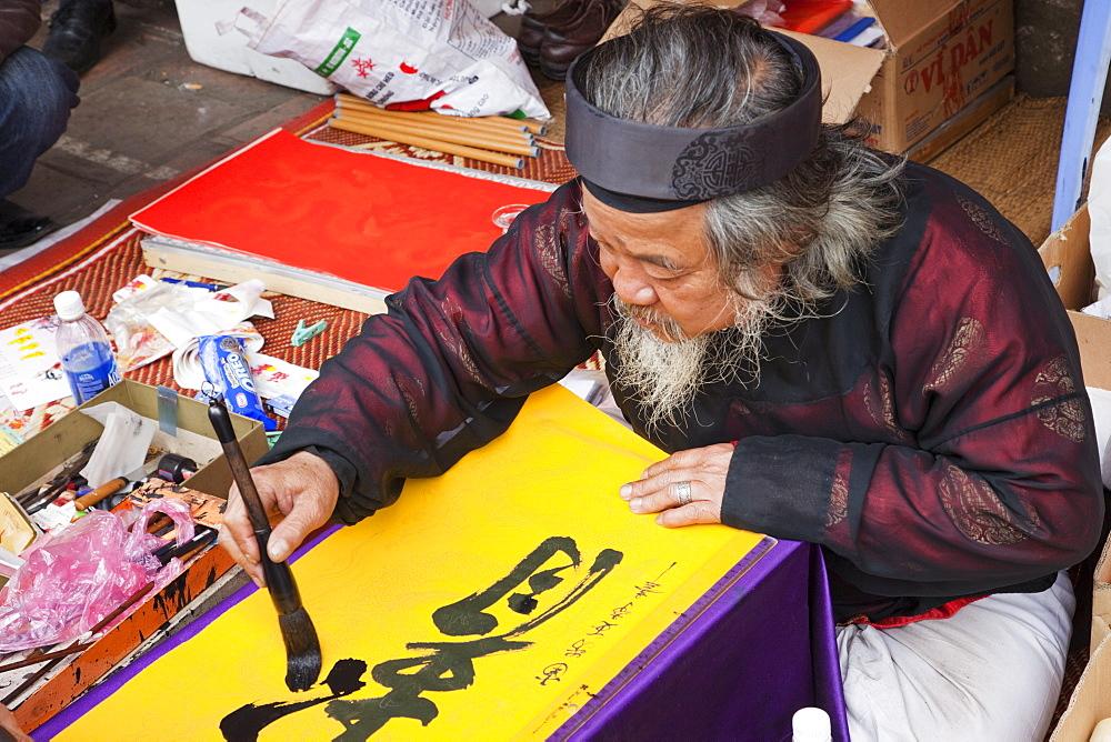 Calligrapher, Temple of Literature, Hanoi, Vietnam, Indochina, Southeast Asia, Asia