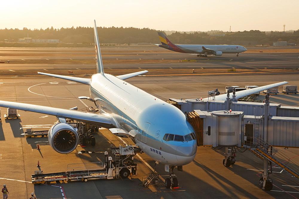Plane on tarmac, Narita International Airport, Tokyo, Japan, Asia