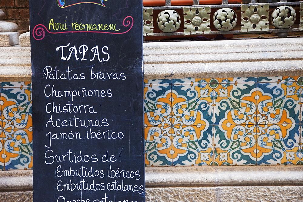 Restaurant menu sig and tilework, The Gothic Quarter, Barcelona, Catalonia, Spain, Europe