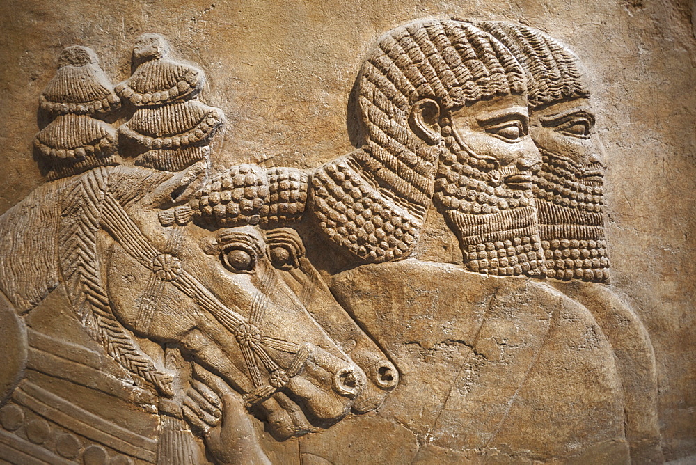 Assyrian relief from Nimrud showing horses and horsemen of the royal chariot dating from 725 BC, British Museum, Bloomsbury, London, England, United Kingdom, Europe