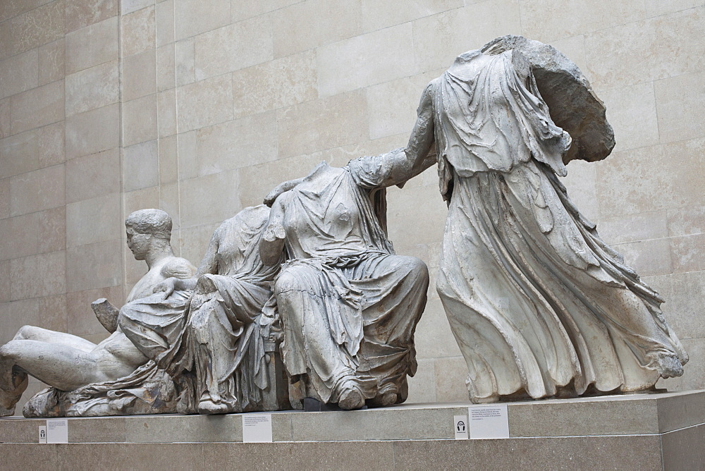 Elgin Marbles from the Parthenon in Athens dating from the 4th century BC, British Museum, Bloomsbury, London, England, United Kingdom, Europe