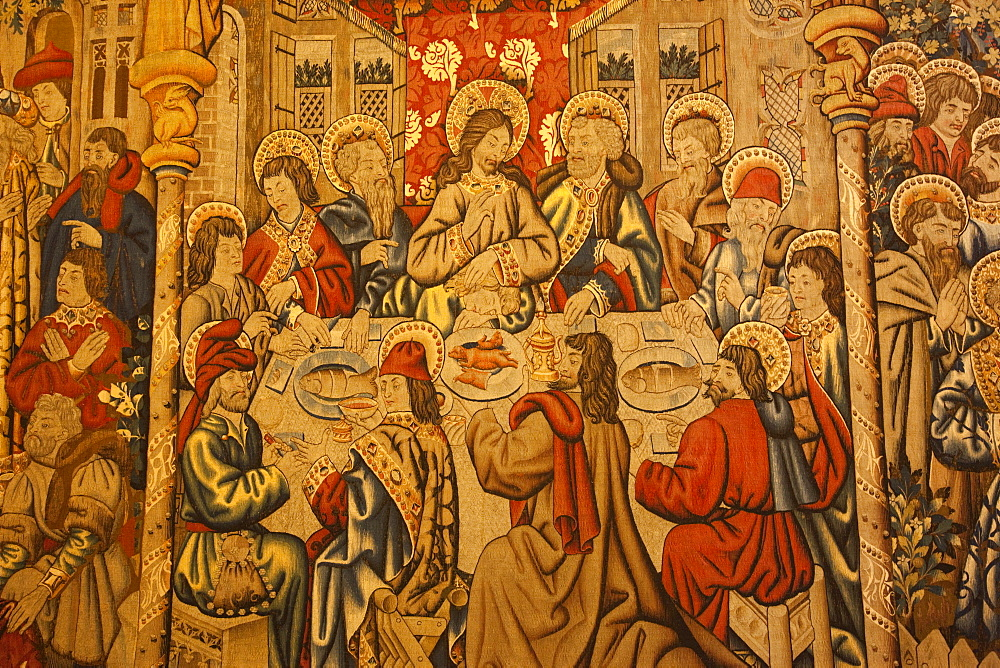Tapestry depicting The Last Supper, Gallery of Tapestries, Vatican Museum, The Vatican, Rome, Lazio, Italy, Europe
