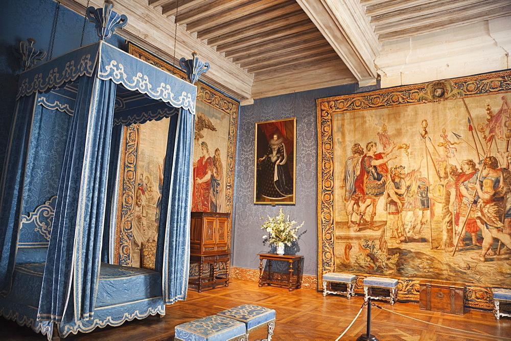 Queens bedroom, Chambord Castle, UNESCO World Heritage Site, Loir et Cher, Loire Valley, France, Europe