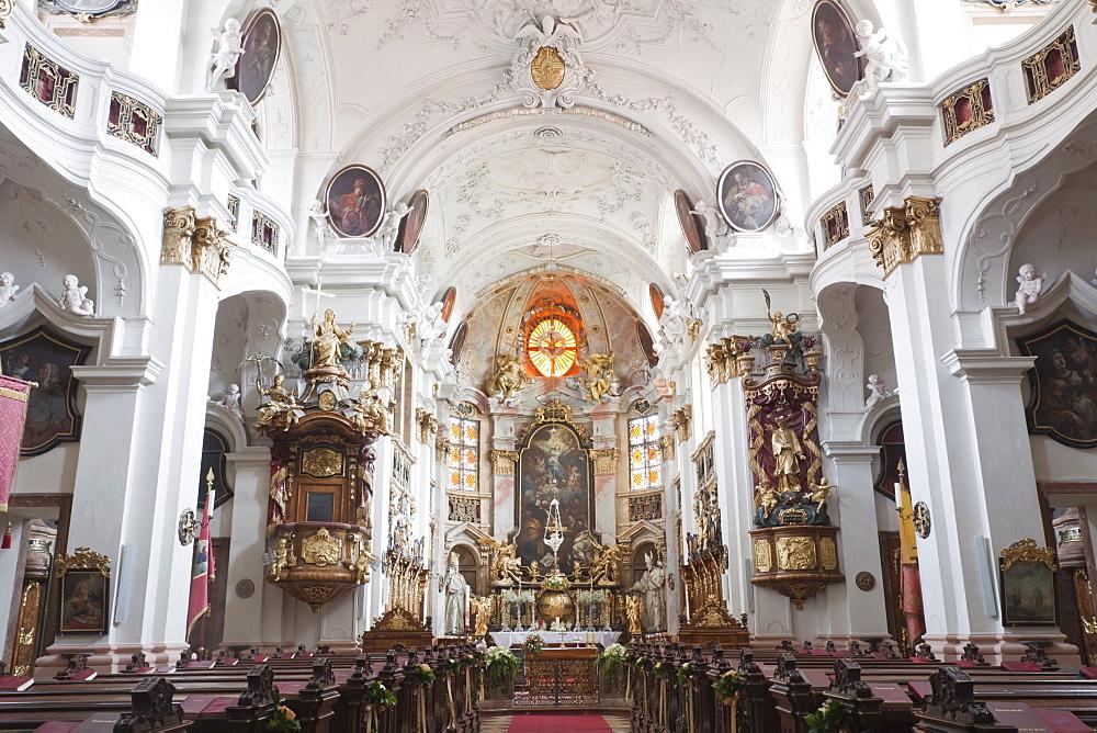 Baroque interior, Durnstein Monastery, Durnstein, Wachau Cultural Landscape, UNESCO World Heritage Site, Austria, Europe - 834-7140