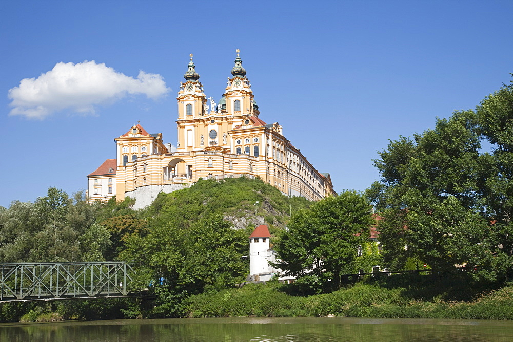The Benedictine Abbey and River Danube, Melk, Wachau Cultural Landscape, UNESCO World Heritage Site, Austria, Europe - 834-7146