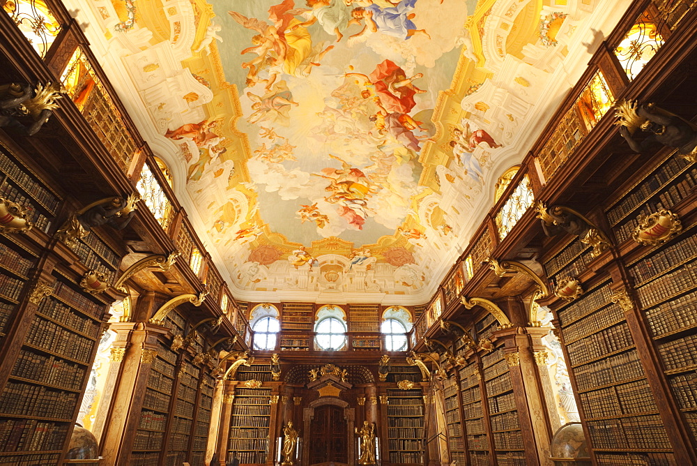 The Library, Melk Abbey, Melk, Wachau Cultural Landscape, UNESCO World Heritage Site, Austria, Europe - 834-7148