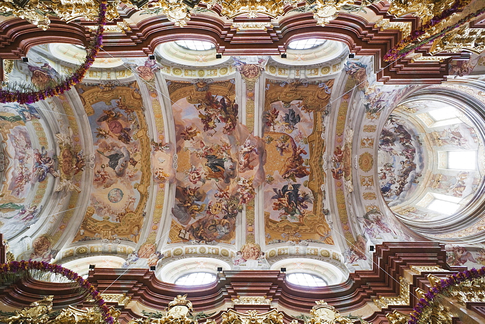 Ceiling fresco of the Abbey Church, Melk Abbey, Melk, Wachau Cultural Landscape, UNESCO World Heritage Site, Austria, Europe - 834-7149