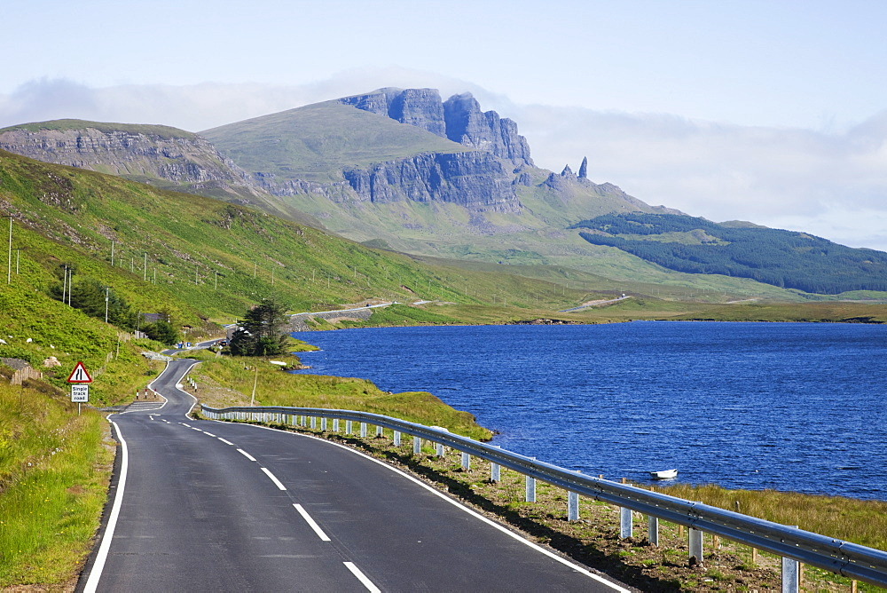 Road and Old Man of Storr mountain, Trotternish Peninsula, Isle of Skye, Inner Hebrides, Scotland, United Kingdom, Europe - 834-7228