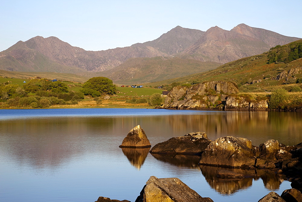 View of Mount Snowdon at Capel Curig with Llynnall Mymbyr Lake, Snowdonia National Park, Gwynedd, Wales, United Kingdom, Europe - 834-739