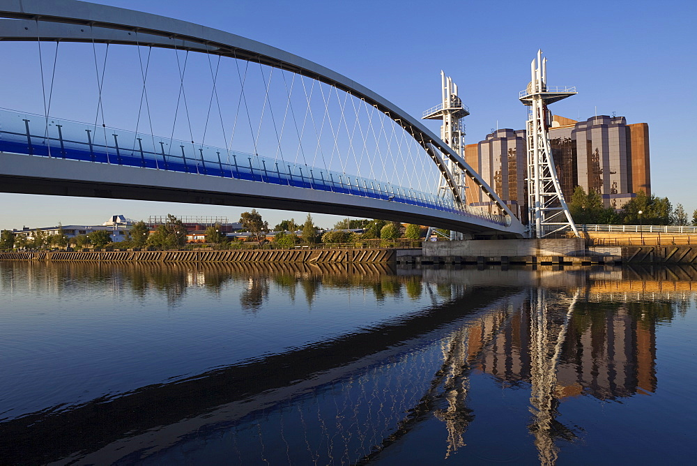 Manchester Ship Canal and Millennium Bridge, Salford Quays, Greater Manchester, England, United Kingdom, Europe