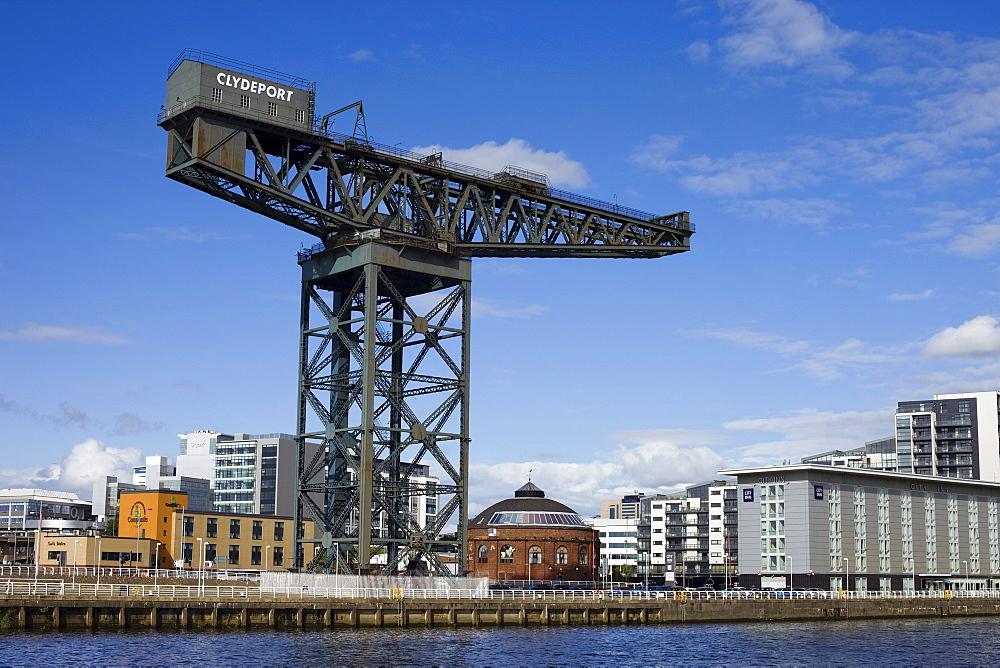 The Finneston Crane and Modern Clydebank skyline, Clydebank, Glasgow, Scotland, United Kingdom, Europe