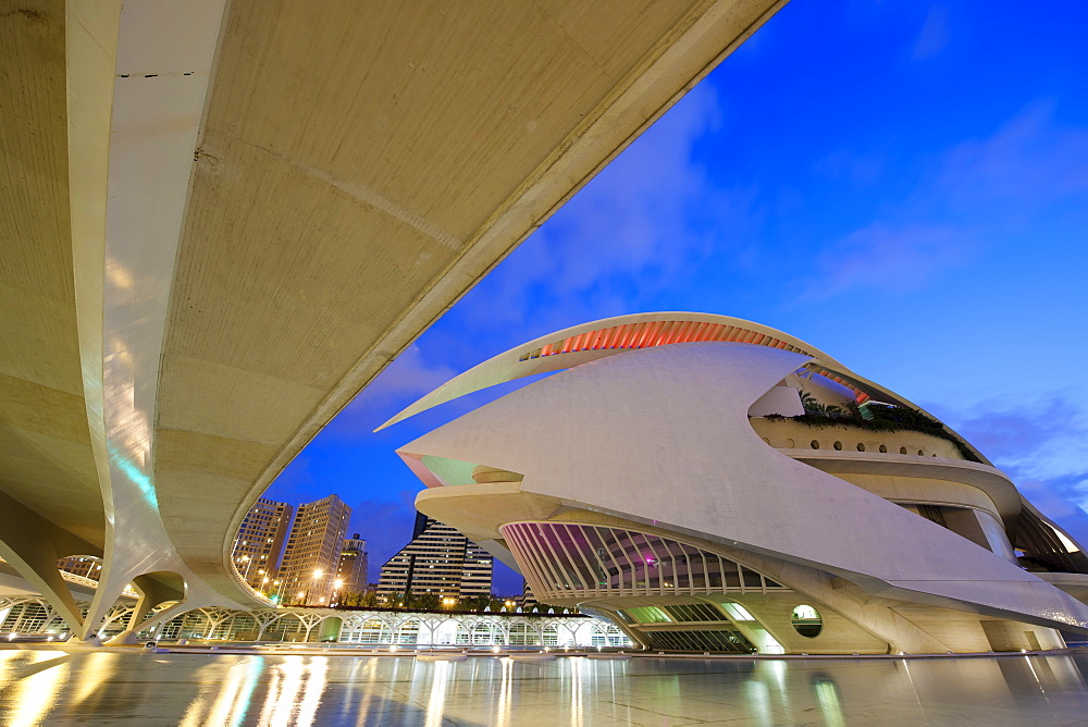 The Palau de les Arts at dusk, City of Arts and Sciences in Valencia, Spain, Europe - 835-100