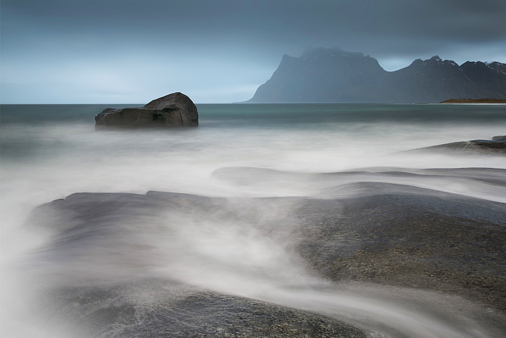 Water breaks over rocks at Uttakleiv, Lofoten Islands, Arctic, Norway, Scandinavia, Europe - 835-108