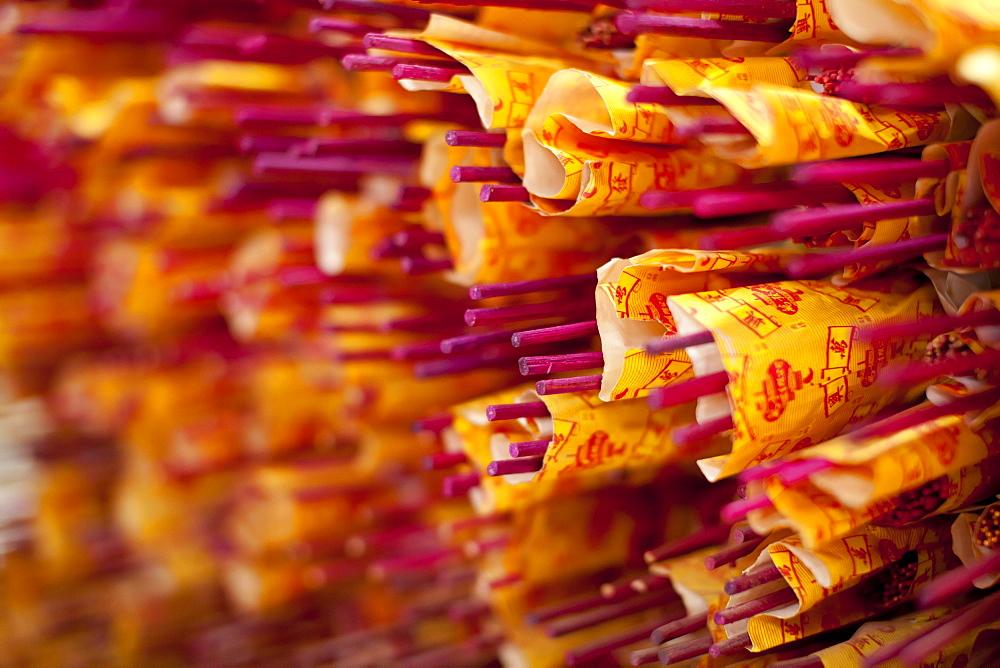 Incense sticks in a Buddhist temple in Kuala Lumpur, Malaysia, Southeast Asia, Asia - 835-112