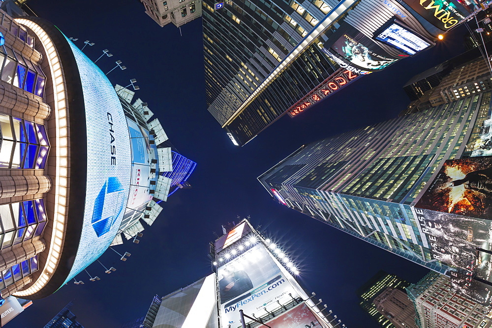 Fisheye lens image of night time at Times Square in New York, New York State, United States of America, North America - 835-119