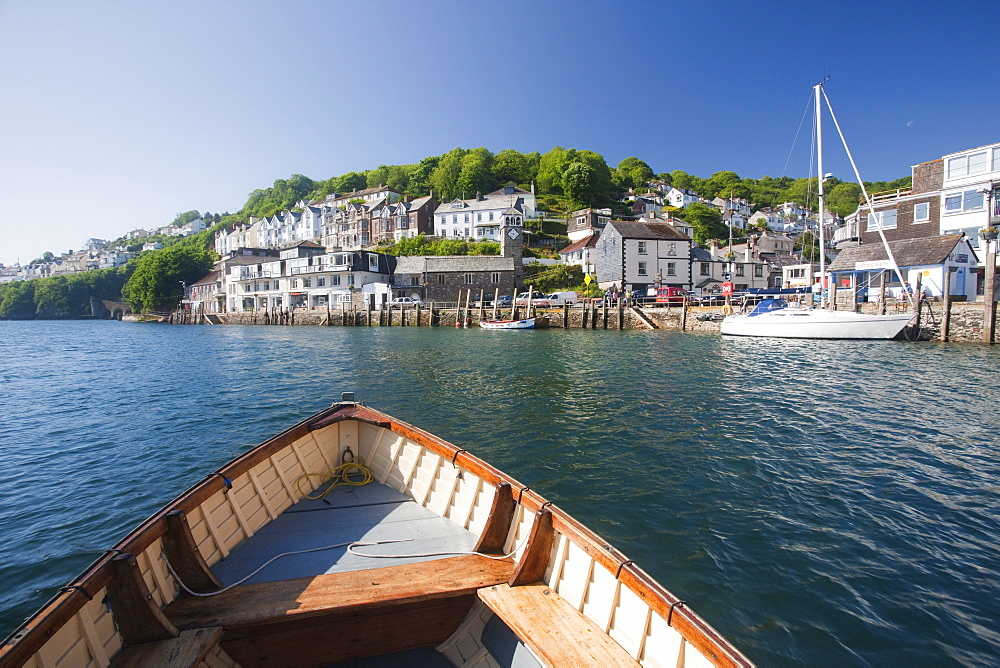 Water taxi crosses the River Looe in Looe, Cornwall, England, United Kingdom, Europe - 835-14