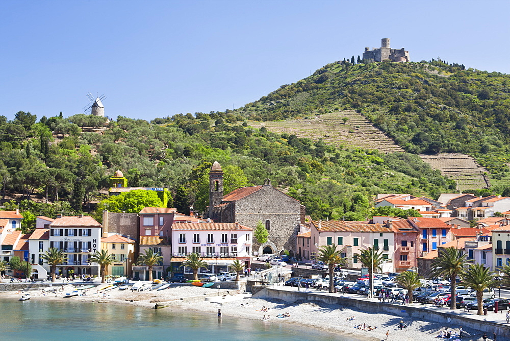 A view of the beach at Collioure, Cote Vermeille, Languedoc-Roussillon, France, Europe - 835-41