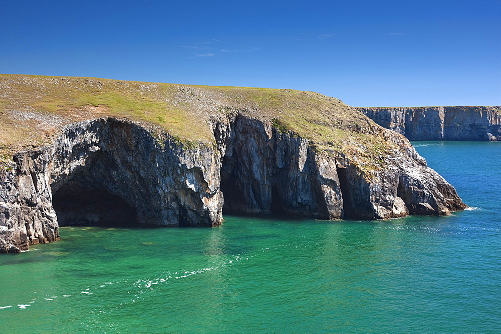 Caves at Raming Hole, looking towards Stackpole Head, Pembrokeshire, Wales, United Kingdom, Europe - 835-67