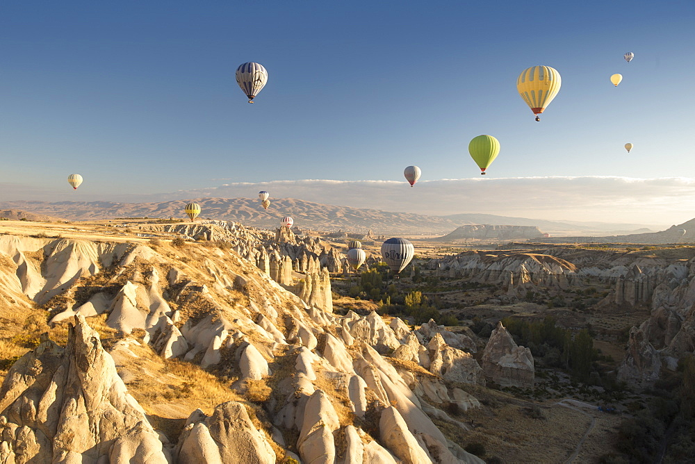 Hot air balloons over volcanic landscape in the dawn sky above Goreme, Cappadocia, Anatolia, Turkey, Asia Minor, Eurasia - 835-83