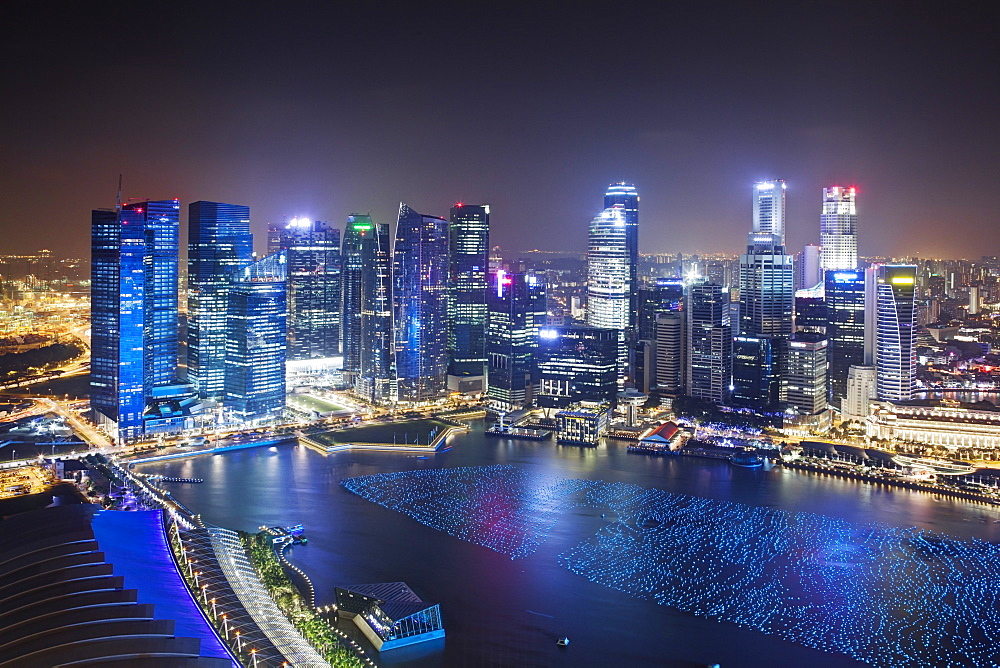 The city skyline of the Central Business District as viewed from the Marina Bay Sands Skypark in Singapore, Southeast Asia, Asia - 835-95