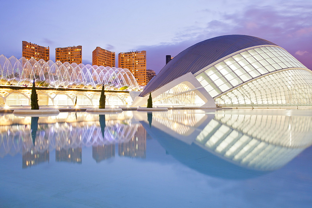 Perfect dusk reflections at the City of Arts and Sciences in Valencia, Spain, Europe - 835-98