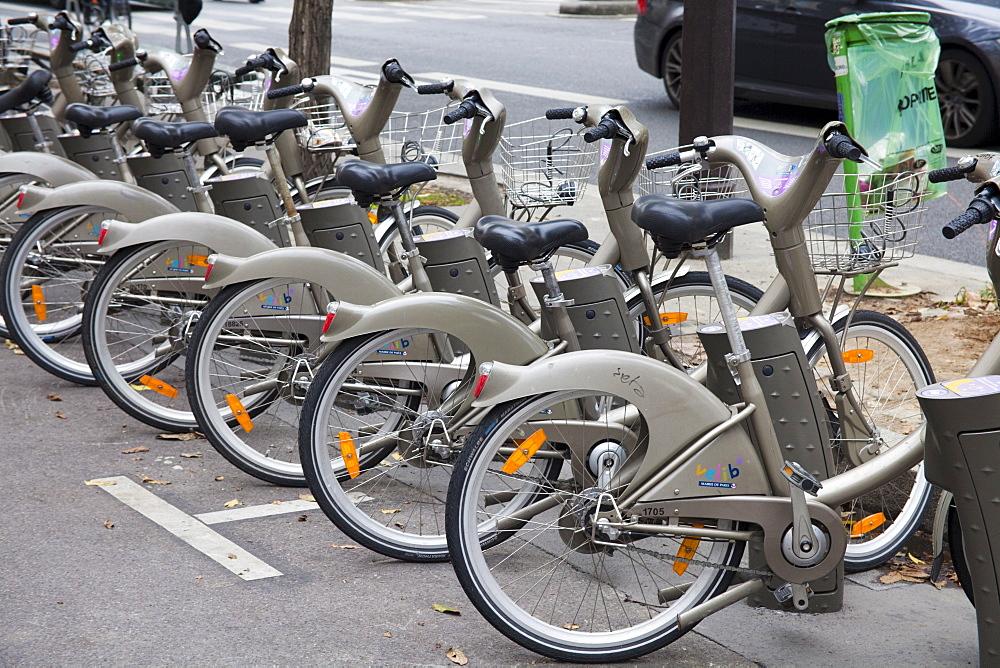 Velib bicycles in Paris, France, Europe - 836-34