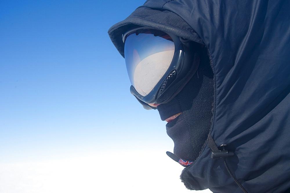 Portrait of polar explorer dressed for Arctic conditions, inland ice, Greenland, Polar Regions