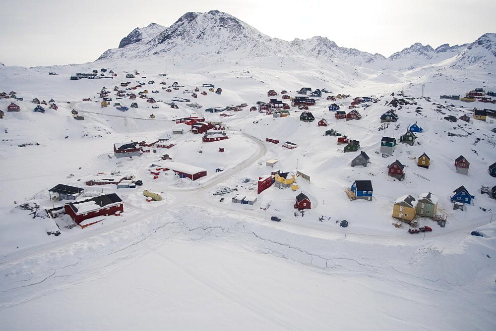 Aerial view of Tasiilaq, East Coast, Greenland, Polar Regions - 836-38