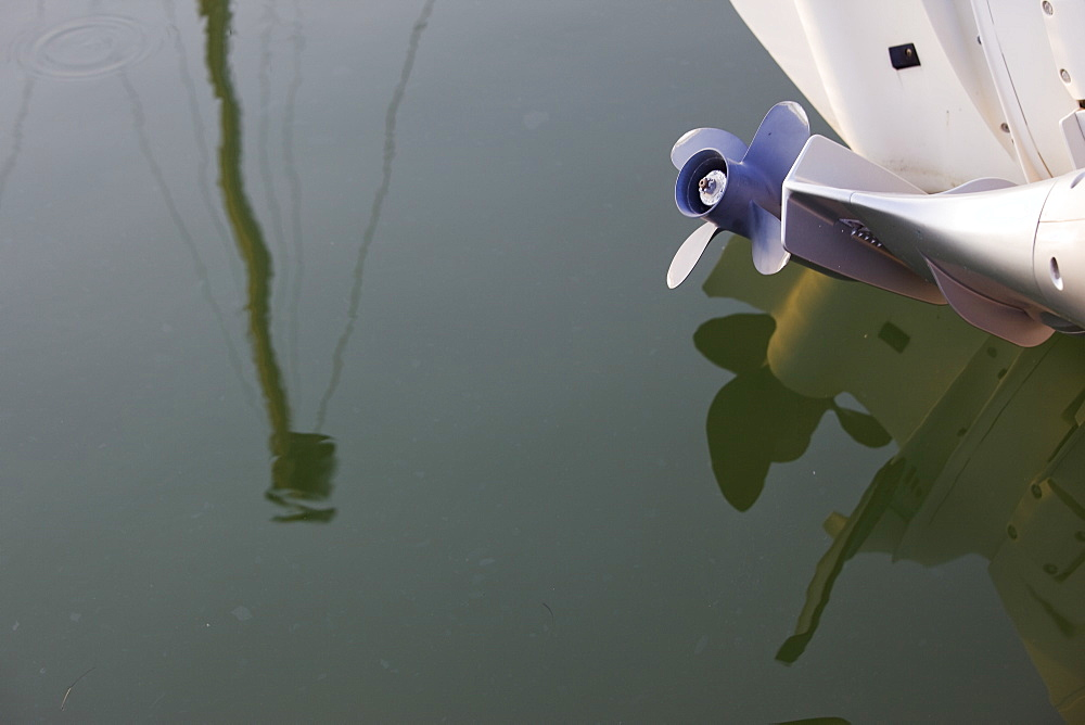 Abstract reflection of the boats in a marina in Cyprus, Cyprus - 837-1032