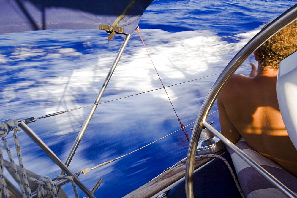 Sail boat cruising on the Mediterranean sea - 837-1053