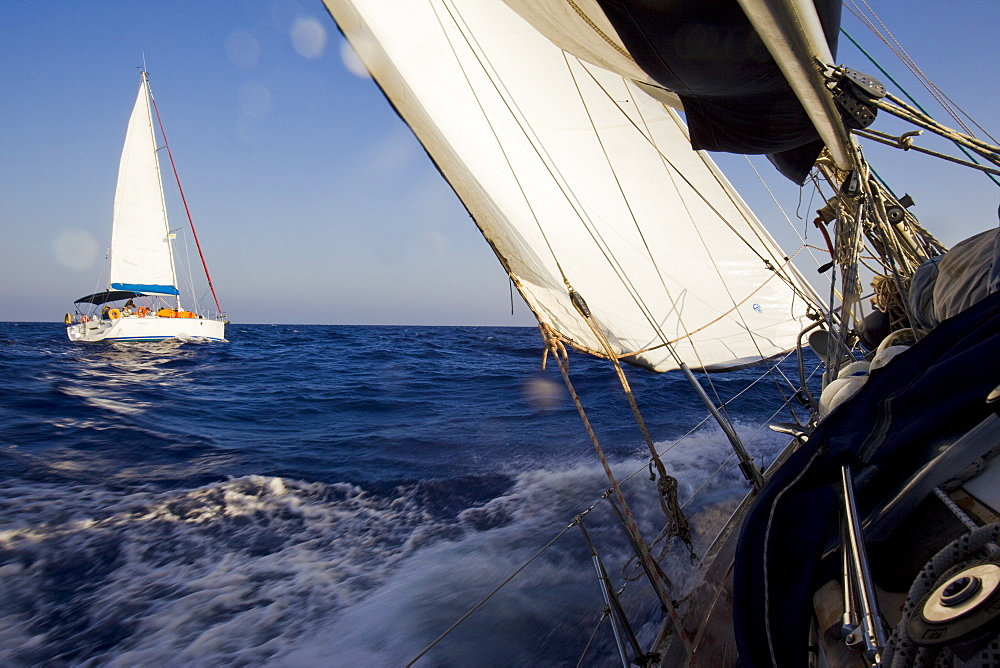 Sail boat cruising on the Mediterranean sea - 837-1061
