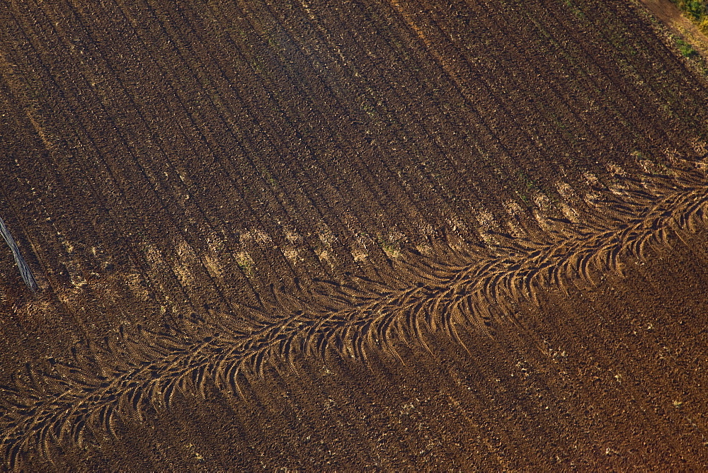 Aerial abstractive view of a ploughed field in the northern Negev desert - 837-1073