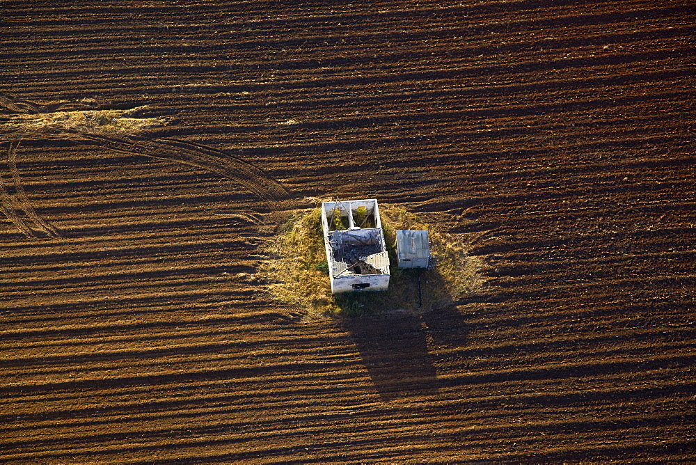Aerial abstractive view of a ploughed field in the northern Negev desert - 837-1074