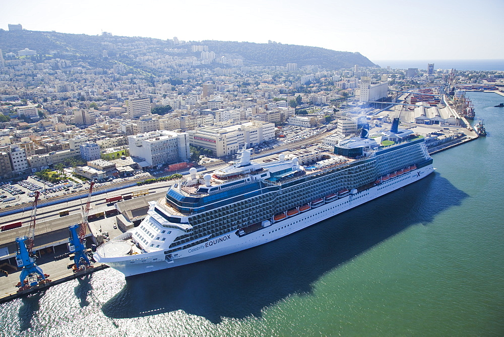 The luxury passenger ship of Celebrity Equinox docking in the port of Haifa - 837-1134