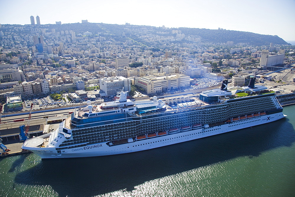 The luxury passenger ship of Celebrity Equinox docking in the port of Haifa - 837-1135